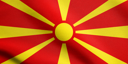 macedonian flag: Macedonian national official flag. Patriotic symbol, banner, element, background. Accurate dimensions. Correct size, colors. Flag of Macedonia waving in the wind with detailed fabric texture