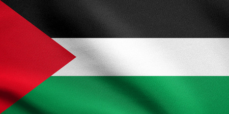 Palestinian national official flag. Patriotic symbol, banner, element, background. Accurate dimensions. Correct size, colors. Flag of Palestine waving in the wind with detailed fabric texture