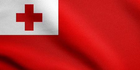 tonga: Tongan national official flag. Patriotic symbol, banner, element, background. Accurate dimensions. Correct size, colors. Flag of Tonga waving in the wind with detailed fabric texture
