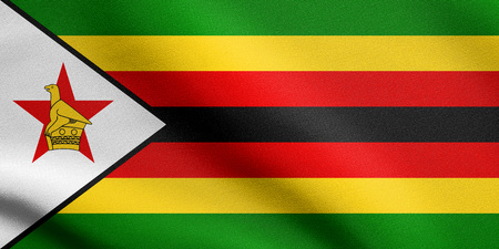 Zimbabwean national official flag. African patriotic symbol, banner, element, background. Accurate dimensions. Correct size, colors. Flag of Zimbabwe waving in the wind with detailed fabric texture Stock Photo