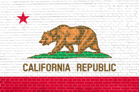 californian: Californian official flag, symbol. American patriotic element. USA banner. United States of America background. Flag of the US state of California on brick wall texture background