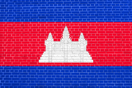 Cambodian national official flag. Patriotic symbol, banner, element, background. Accurate dimensions. Correct size, colors. Flag of Cambodia on brick wall texture background