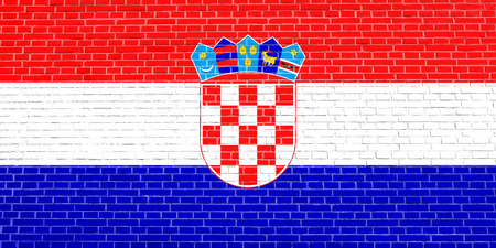 Croatian national official flag. Patriotic symbol, banner, element, background. Accurate dimensions. Correct size, colors. Flag of Croatia on brick wall texture background