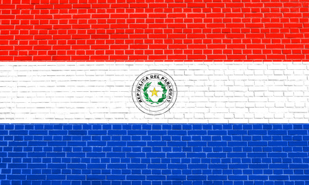 bandera de paraguay: Paraguayan national official flag. Patriotic symbol, banner, element, background. Accurate dimensions. Correct size, colors. Flag of Paraguay on brick wall texture background
