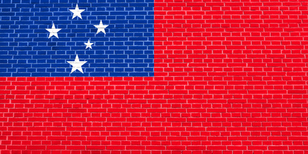 solid state: Samoan national official flag. Patriotic symbol, banner, element, background. Accurate dimensions. Correct size, colors. Flag of Samoa on brick wall texture background