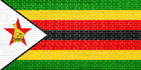 solid state: Zimbabwean national official flag. African patriotic symbol, banner, element, background. Accurate dimensions. Correct size, colors. Flag of Zimbabwe on brick wall texture background