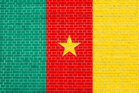 solid state: Cameroonian national official flag. African patriotic symbol, banner, element, background. Flag of Cameroon on brick wall texture background