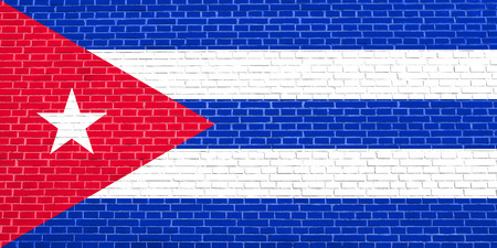 solid state: Cuban national official flag. Patriotic symbol, banner, element, background. Flag of Cuba on brick wall texture background
