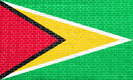 solid state: Guyanan national official flag. Patriotic symbol, banner, element, background. Flag of Guyana on brick wall texture background Stock Photo