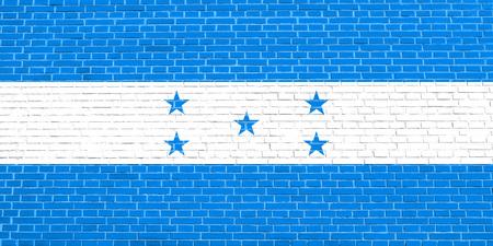 Honduran national official flag. Republic of Honduras patriotic symbol, banner, element, background. Flag of Honduras on brick wall texture background