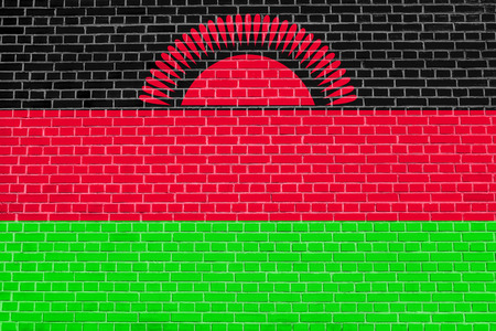 malawian: Malawian national official flag. African patriotic symbol, banner, element, background. Flag of Malawi on brick wall texture background