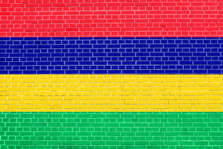 Mauritian national official flag. African patriotic symbol, banner, element, background. Flag of Mauritius on brick wall texture background Stock Photo