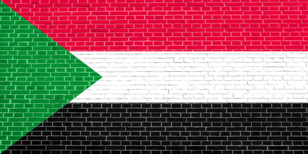 solid state: Sudanese national official flag. African patriotic symbol, banner, element, background. Flag of Sudan on brick wall texture background
