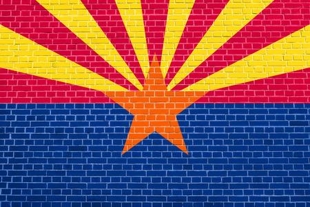 アリゾナ州の人公式の旗のシンボルです。アメリカの愛国心が強い要素。米国のバナーです。アメリカ合衆国の背景。壁テクスチャ背景のレンガに