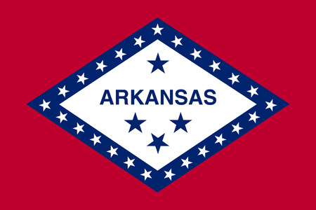 Arkansan official flag, symbol. American patriotic element. USA banner. United States of America background. Flag of the US state of Arkansas, correct size, proportions and colors, vector illustration Illustration