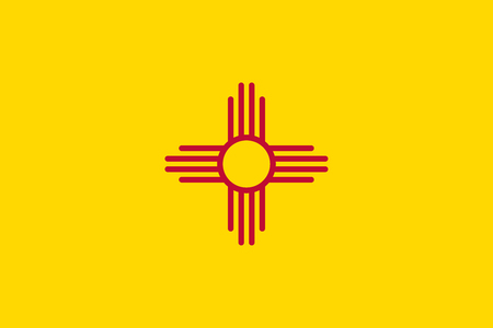 us sizes: New Mexican official flag, symbol. American patriotic element. USA banner. United States of America background. Flag of the US state of New Mexico, correct size, proportion, color, vector illustration Illustration