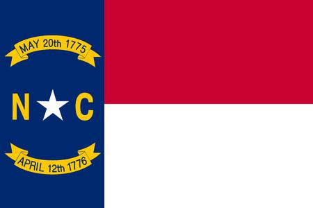 Noord-Carolinian officiële vlag, symbool. Amerikaans patriottisch element. Banner van de VS Achtergrond van de Verenigde Staten. Vlag van de Amerikaanse staat North Carolina in de juiste maat, kleuren, vector illustratie Stock Illustratie