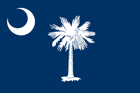 South Carolinian official flag, symbol. American patriotic element. USA banner. United States of America background. Flag of the US state of South Carolina in correct size, colors, vector illustration