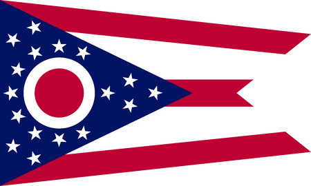 Ohioan official flag, symbol. American patriotic element. USA banner. United States of America background. Flag of the US state of Ohio in correct size, proportions and colors, vector illustration