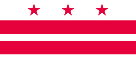 dc: Washington, D.C. official flag, symbol. American patriotic element. USA banner. United States of America background. Flag of the District of Columbia in correct size and colors, vector illustration