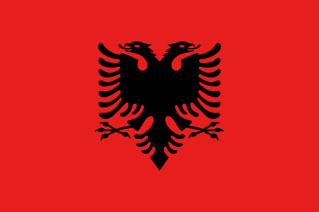 Albanian national official flag. Patriotic symbol, banner, element, background. Accurate dimensions. Flag of Albania in correct size and colors, vector illustration