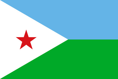 Djiboutian national official flag. Patriotic symbol, banner, element, background. Accurate dimensions. Flag of Djibouti in correct size and colors, vector illustration