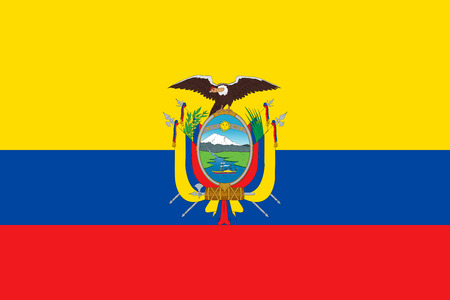 Ecuadorian national official flag. Patriotic symbol, banner, element, background. Accurate dimensions. Flag of Ecuador in correct size and colors, vector illustration Illustration
