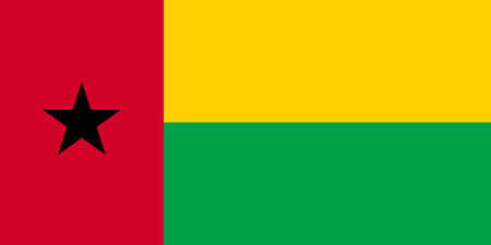Bissau-Guinean national official flag. African patriotic symbol, banner, element, background. Accurate dimensions. Flag of Guinea-Bissau in correct size and colors, vector illustration