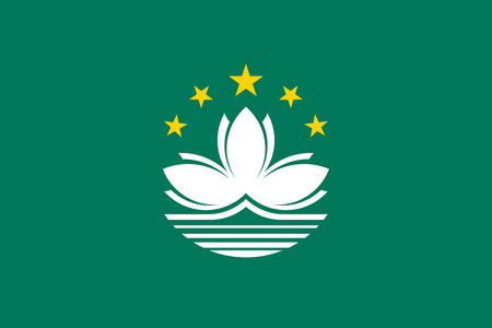 macau: Macanese official flag. Patriotic chinese symbol, banner, element, background. Macau is special region of PRC. Flag of Macau in correct size and colors, vector illustration