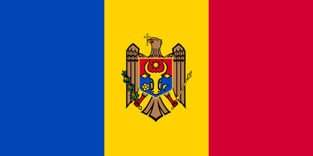 moldovan: Moldovan national official flag. Patriotic symbol, banner, element, background. Accurate dimensions. Flag of Moldova in correct size and colors, vector illustration Illustration