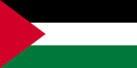 Palestinian national official flag. Patriotic symbol, banner, element, background. Accurate dimensions. Flag of Palestine in correct size and colors, vector illustration