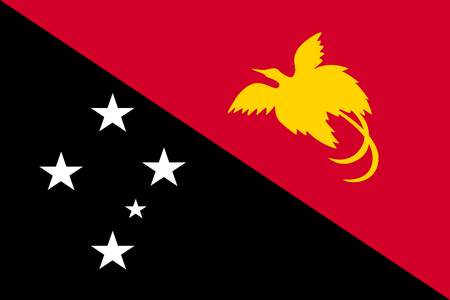 Papua New Guinean national official flag. Papuan patriotic symbol, banner, element, background. Accurate dimensions. Flag of Papua New Guinea in size and colors, vector illustration Illustration