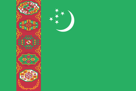 turkmenistan: Turkmen national official flag. Patriotic symbol, banner, element, background. Accurate dimensions. Flag of Turkmenistan in correct size and colors, vector illustration