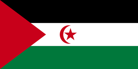 Sahrawi national official flag. Western Sahara patriotic symbol. SADR banner, element, background. Flag of Sahrawi Arab Democratic Republic in correct size and colors, vector illustration