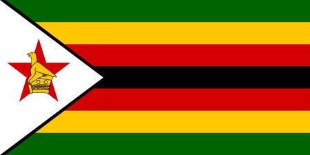 zimbabwe: bandera oficial nacional de Zimbabwe. african símbolo patriótico, bandera, elemento, fondo. las dimensiones exactas. Bandera de Zimbabwe en el tamaño y los colores correctos, ilustración vectorial Vectores
