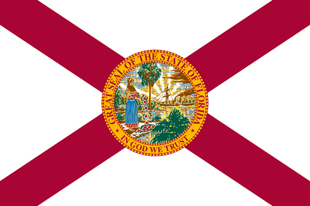 us sizes: Floridian official flag, symbol. American patriotic element. USA banner. United States of America background. Flag of the US state of Florida in correct size and colors, illustration