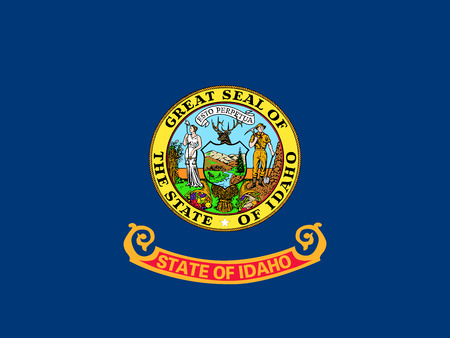 Idahoan official flag, symbol. American patriotic element. USA banner. United States of America background. Flag of the US state of Idaho in correct size and colors, illustration Stock Photo