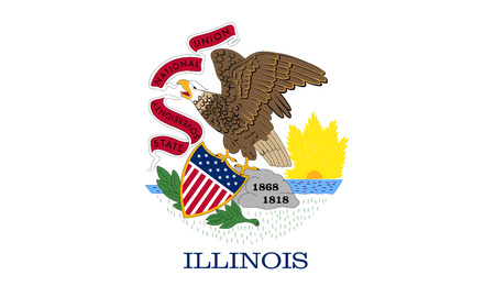 us sizes: Illinoisan official flag, symbol. American patriotic element. USA banner. United States of America background. Flag of the US state of Illinois in correct size and colors, illustration Stock Photo