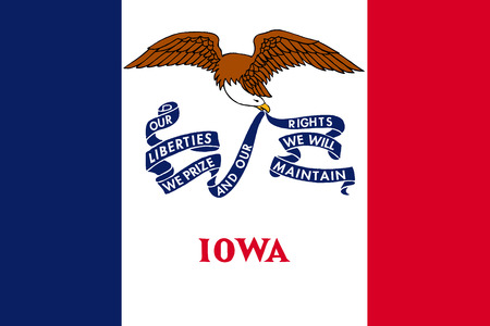 us sizes: Iowan official flag, symbol. American patriotic element. USA banner. United States of America background. Flag of the US state of Iowa in correct size and colors, illustration