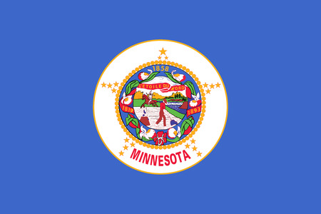 us sizes: Minnesotan official flag, symbol. American patriotic element. USA banner. United States of America background. Flag of the US state of Minnesota in correct size and colors, illustration