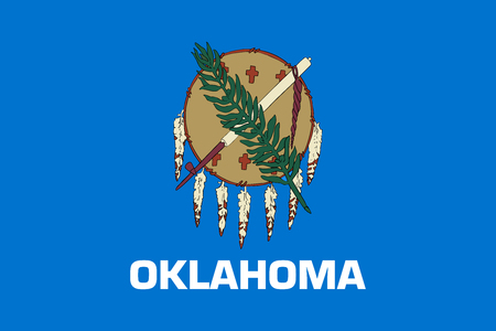 oklahoma: Oklahoman official flag, symbol. American patriotic element. USA banner. United States of America background. Flag of the US state of Oklahoma in correct size and colors, illustration Stock Photo