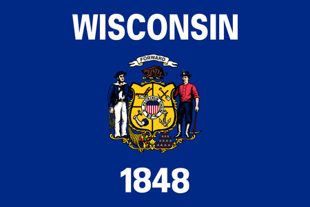 us sizes: Wisconsinite official flag, symbol. American patriotic element. USA banner. United States of America background. Flag of the US state of Wisconsin in correct size and colors, illustration
