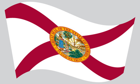 floridian: Floridian official flag, symbol. American patriotic element. USA banner. United States of America background. Flag of the US state of Florida waving on gray background, vector Illustration