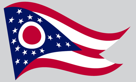 Ohioan official flag, symbol. American patriotic element. USA banner. United States of America background. Flag of the US state of Ohio waving on gray background, vector 일러스트