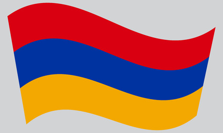 armenian: Armenian national official flag. Patriotic symbol, banner, element, background. Correct colors. Flag of Armenia waving on gray background, vector