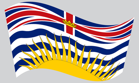 Canadian provincial BC patriotic element and official symbol. Canada banner and background. Flag of the Canadian province of British Columbia waving on gray background, vector