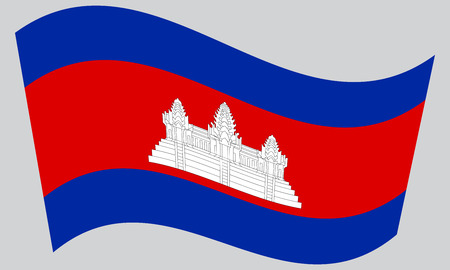 cambodian: Cambodian national official flag. Patriotic symbol, banner, element, background. Correct colors. Flag of Cambodia waving on gray background, vector