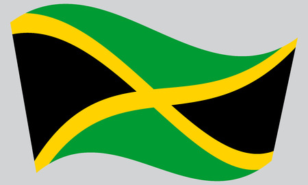 jamaican: Jamaican national official flag. Patriotic symbol, banner, element, background. Correct colors. Flag of Jamaica waving on gray background, vector