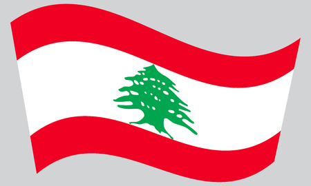 lebanese: Lebanese national official flag. Patriotic symbol, banner, element, background. Correct colors. Flag of Lebanon waving on gray background, vector