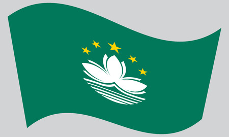 prc: Macanese official flag. Patriotic chinese symbol, banner, element, background. Macau is special region of PRC. Correct colors. Flag of Macau waving on gray background, vector Illustration